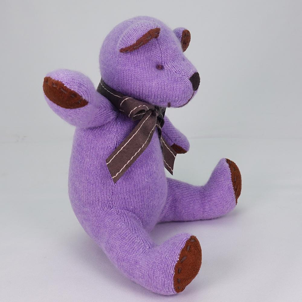 高級カシミヤ製テディベア。高貴な紫色のパープル・キッドベア【24cm】