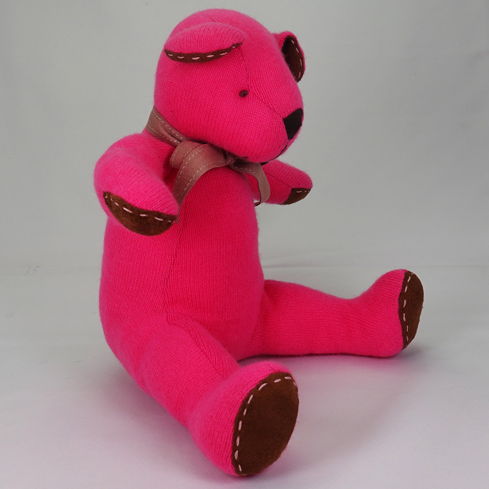 高級カシミヤ製テディベア。ホットピンク色のフューシア・パパベア【30cm】