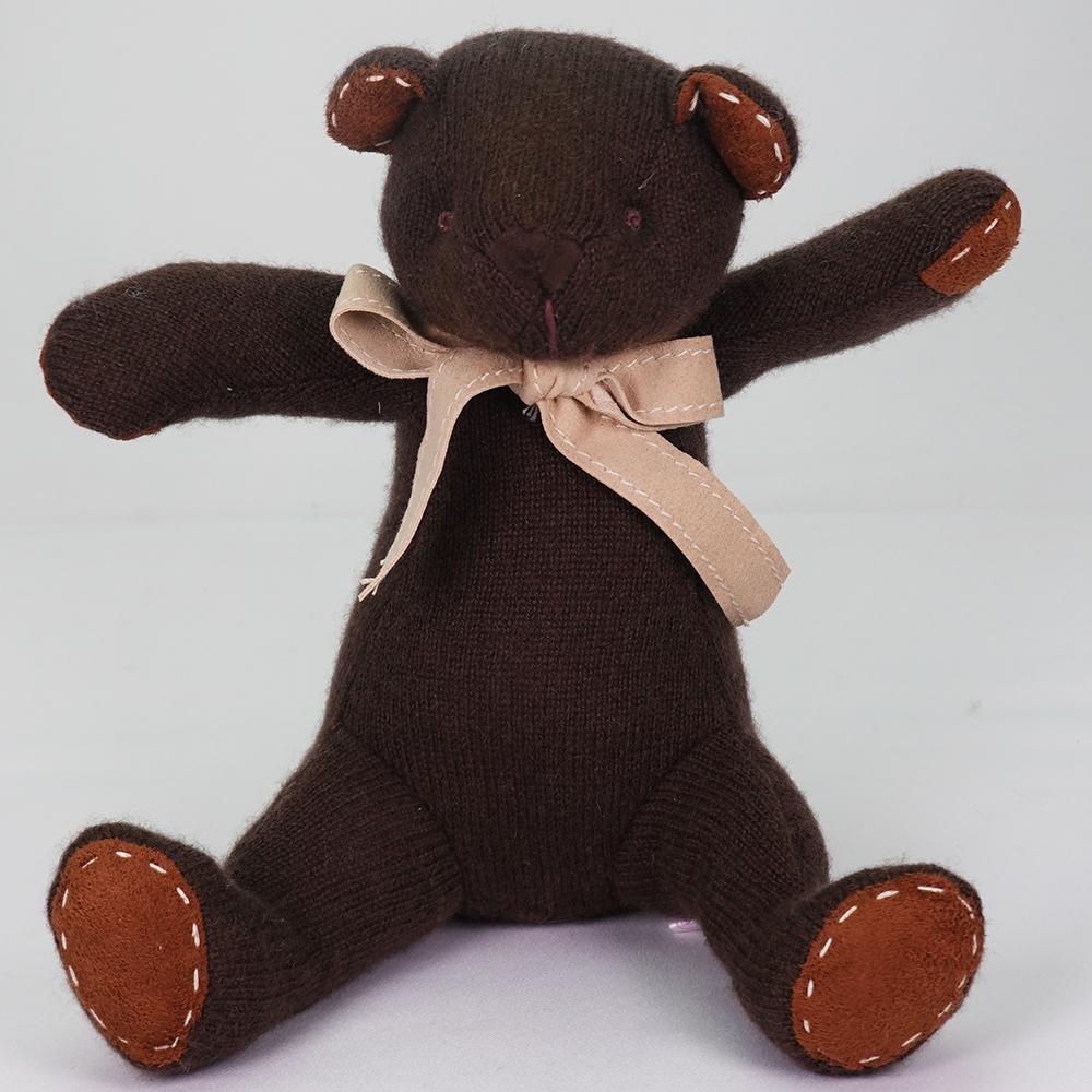 大人のビターチョコレート色。カシミヤのチョコ・キッドベア【体長24cm】