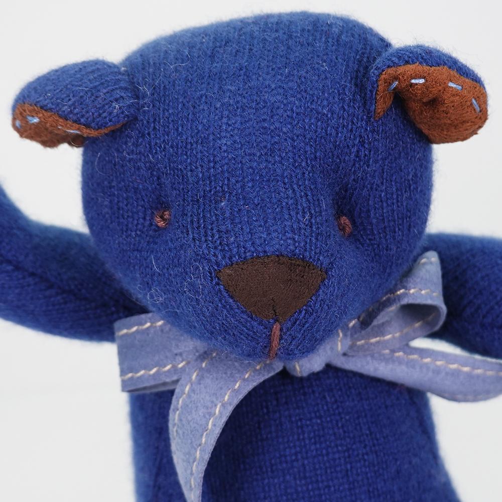 高級カシミヤ製テディベア。紺色のネイビー・キッドベア【24cm】