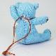 高級カシミヤ製ミニ・テディベア。NYブルー色のティファニー・ミニベア【12cm】