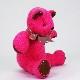高級カシミヤ製テディベア。ホットピンク色のフューシャ・ベビーベア【15cm】