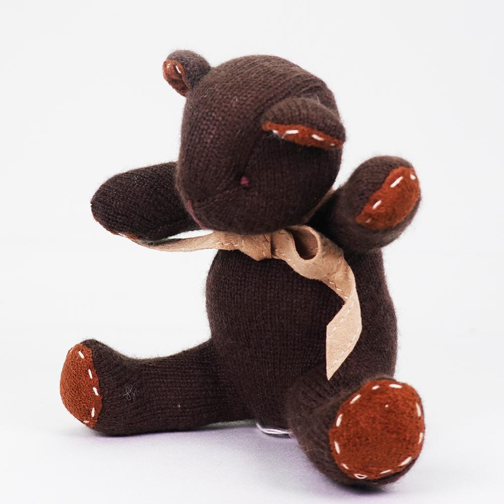 高級カシミヤ製ベビー・テディベア。ビターチョコレート色のチョコ・ベビーベア【15cm】