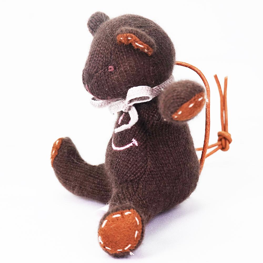 高級カシミヤ製ミニ・テディベア。ニコちゃんスマイルのチョコレート色チョコ・ミニベア【12cm】