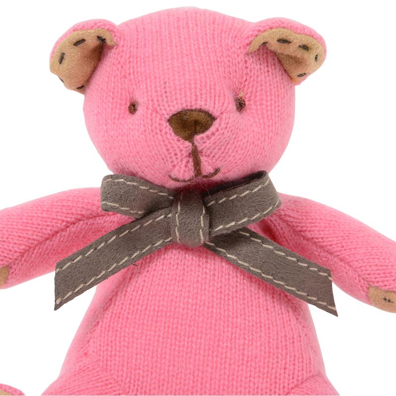 名入れ刺しゅうで、世界にひとつのカシミヤ・テディベア。キュートピンク色のマジェンタ・ベビーベア【15cm】