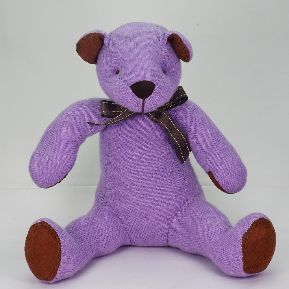高級カシミヤ製テディベア。高貴な紫色のパープル・パパベア【30cm】