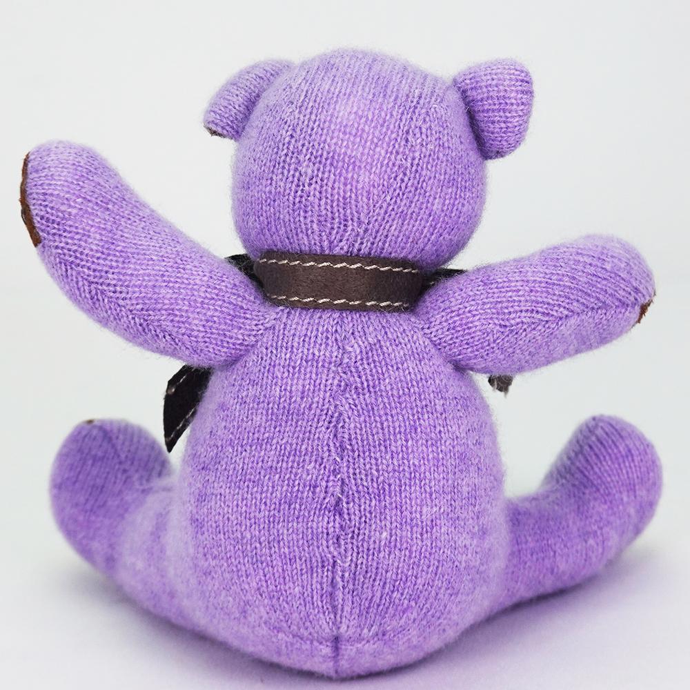高級カシミヤ製ベビー・テディベア。高貴な紫色のパープル・ベビーベア【15cm】