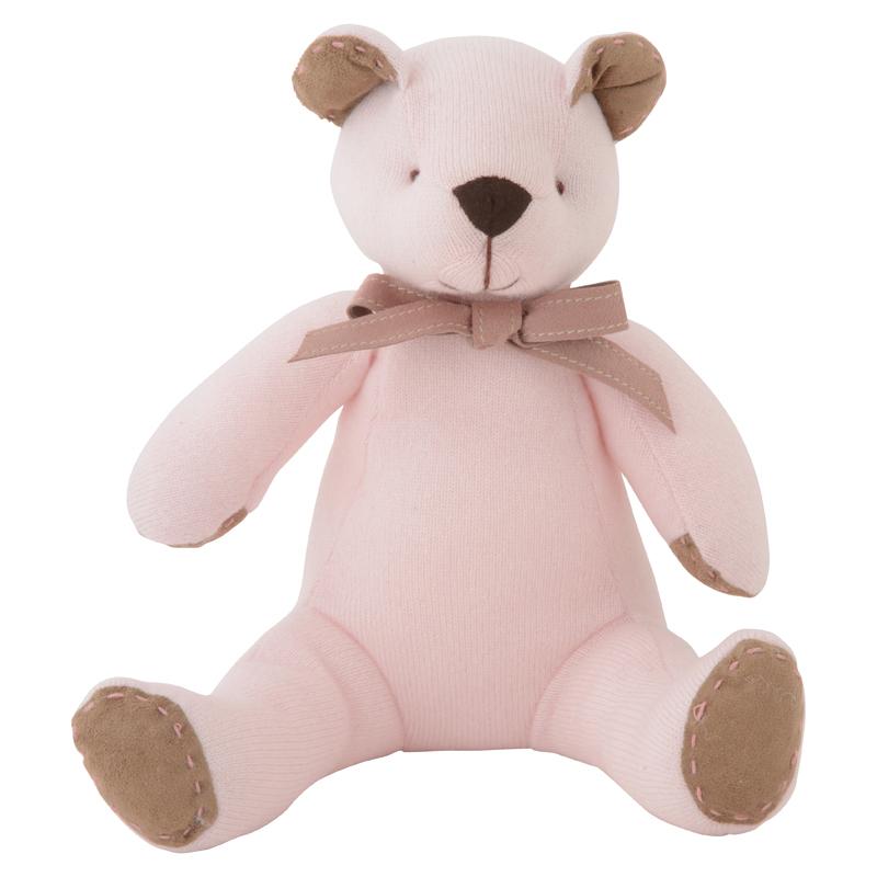 高級カシミヤ製テディベア。上品な淡いピンク色のローズ・ベアファミリー。パパ【30cm】+キッド【24cm】+ベビー【15cm】 送料無料