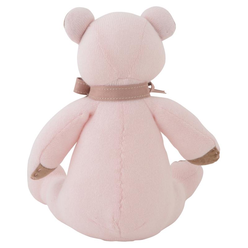 名入れ刺しゅうで、世界にひとつのカシミヤ・テディベア。上品な淡いピンク色のローズ・パパベア【30cm】