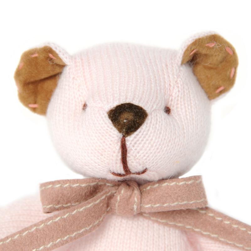 名入れ刺しゅうで、世界にひとつのカシミヤ・テディベア。ベビーピンク色のローズ・ベビーベア【15cm】