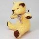 高級カシミヤ製ミニ・テディベア。ニコちゃんスマイルの黄色レモン・ミニベア【12cm】