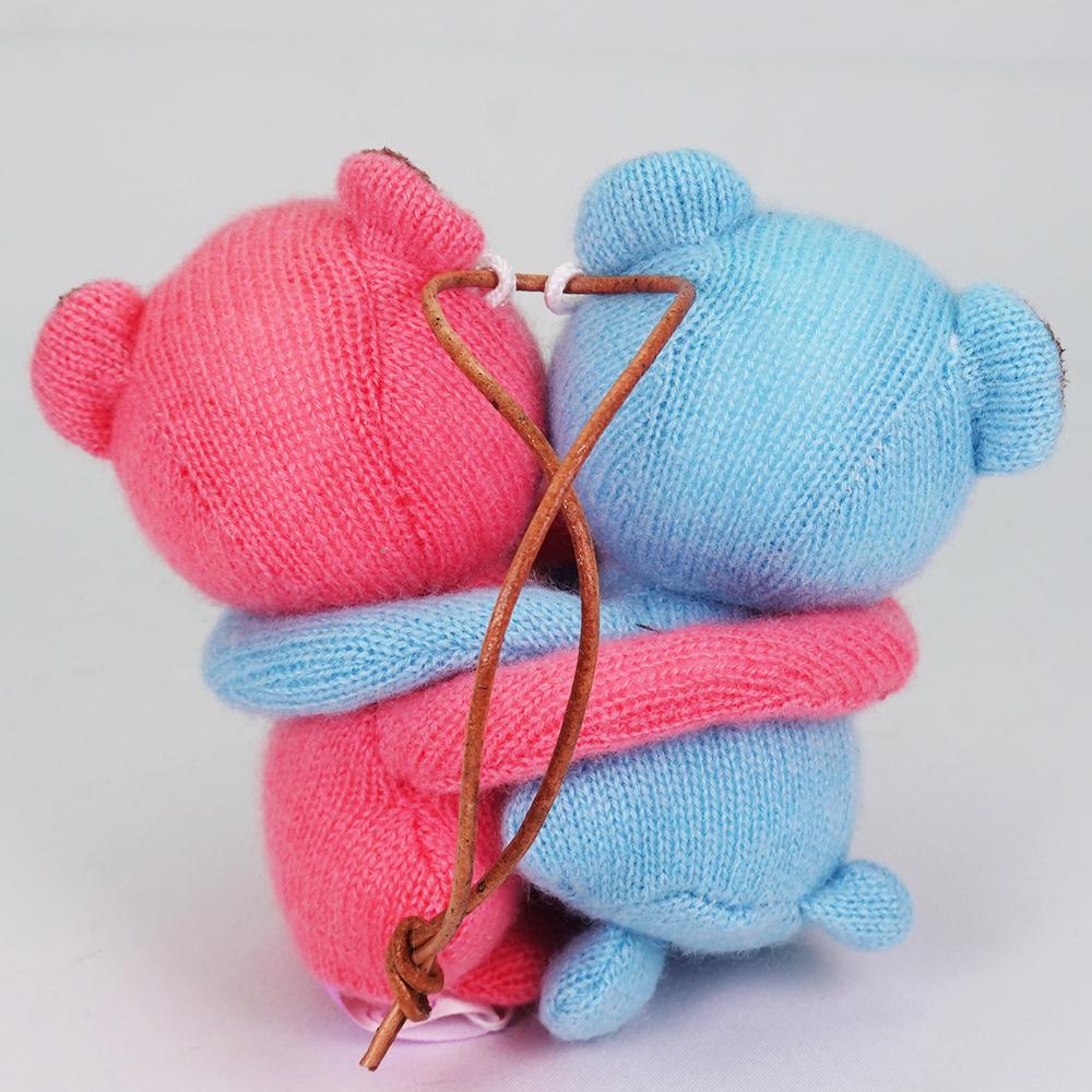 高級カシミヤ製の縁結びハグベア。 ティファニー&マジェンタ・ベビー・ハグベア【8cm】