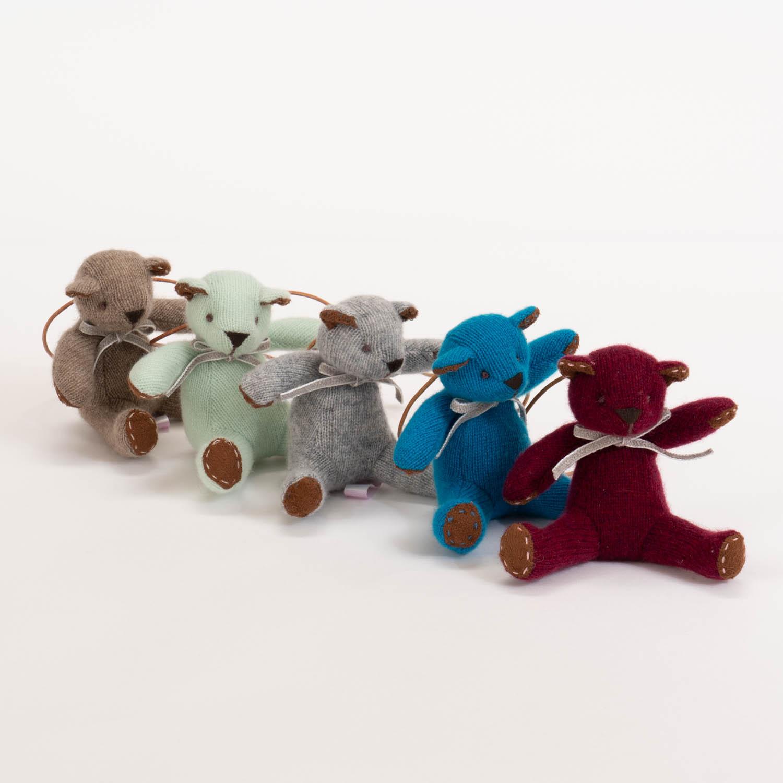 高級カシミヤ製ミニ・テディベア。大海ブルー色のマリーン・ミニベア【12cm】