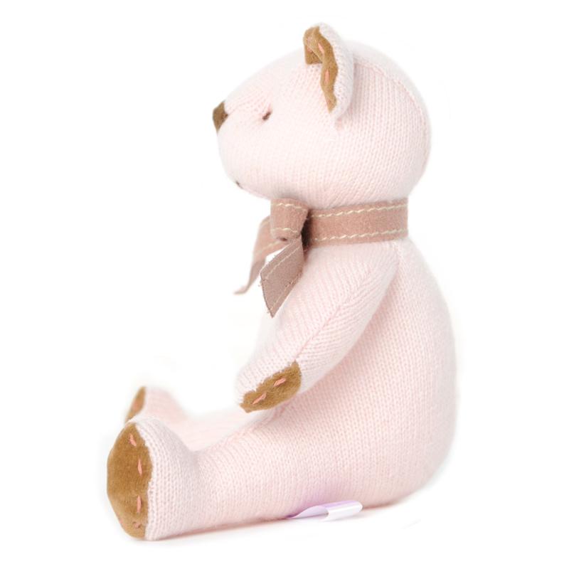 高級カシミヤ製ベビー・テディベア。淡いピンク色のローズ・ベビーベア【15cm】