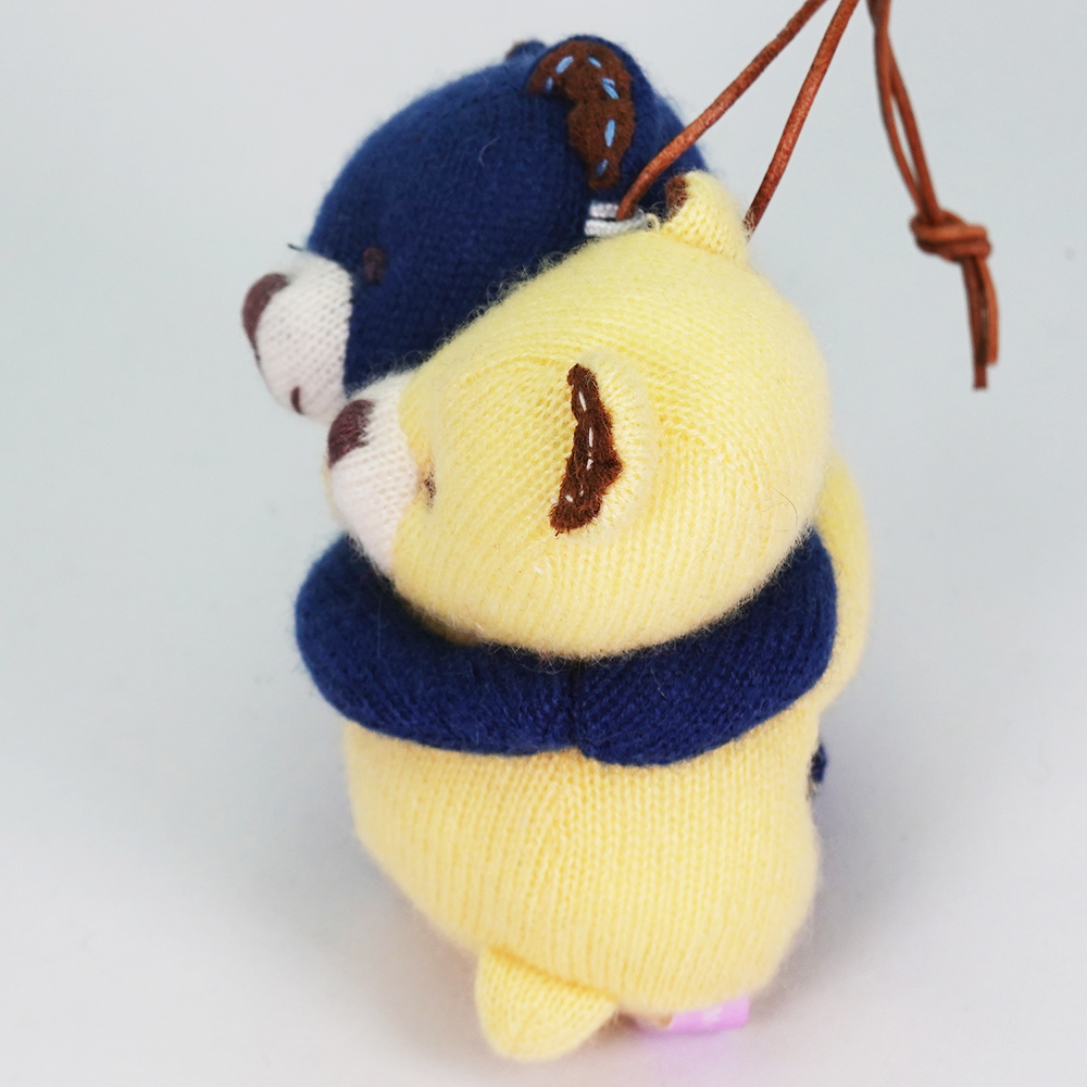 高級カシミヤ製の縁結びハグベア。 ネイビー&レモン・ベビー・ハグベア【8cm】
