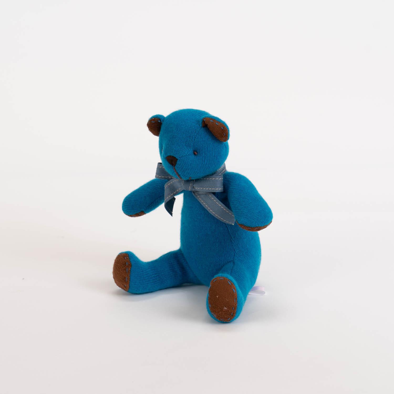 大海ブルー色。カシミヤのマリーン・キッドベア【体長24cm】