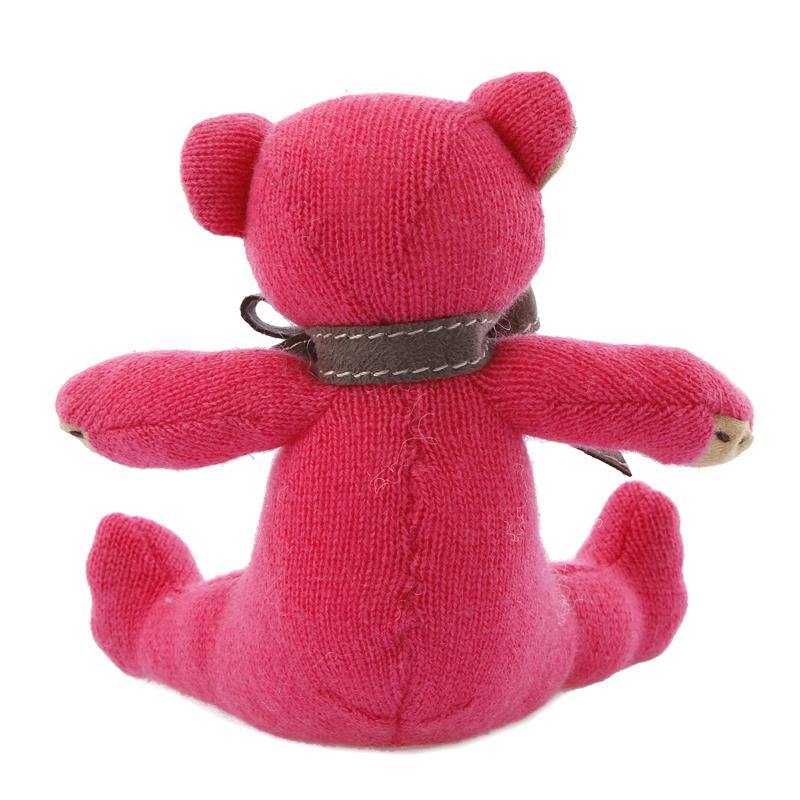 名入れ刺しゅうで、世界にひとつのカシミヤ・テディベア。ホットピンク色のフューシャ・ベビーベア【15cm】