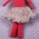 高級カシミヤの棒針の編みぐるみ。フレアスカートをはいたブラブラ・マジェンタうさぎ【13cm】