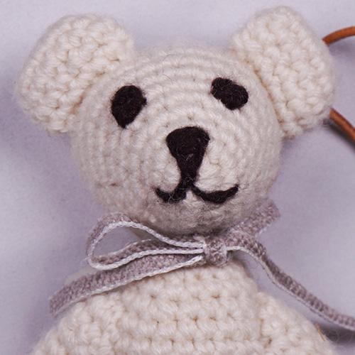 高級カシミヤの編みぐるみ かぎ編みのブラブラ・ベア【13cm】無染色ミルク