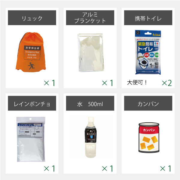 【1人用】車載・オフィス用 避難セット