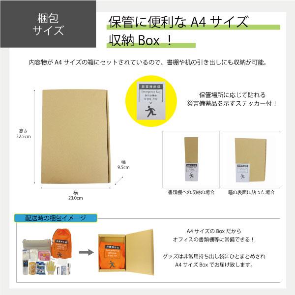 【 1人用! A4梱包箱付】車載・オフィス用 避難セット