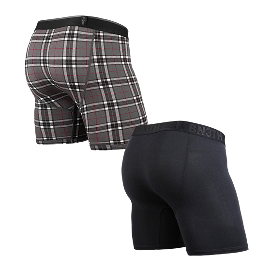 CLASSIC BOXER SOLID×PRINT 2PACK / BLACK FIRESIDE-PLAID GREY( 2枚1SET)