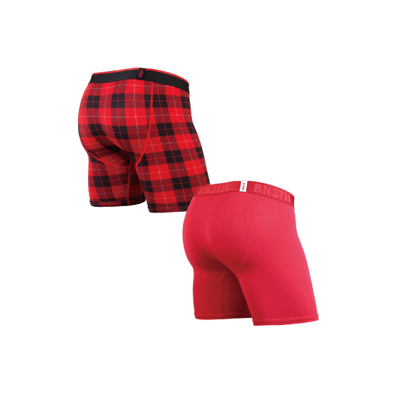 CLASSIC BOXER SOLID×PRINT 2PACK / CRIMSON FIRESIDE-PLAID RED( 2枚1SET)