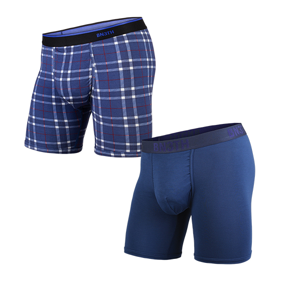 CLASSIC BOXER SOLID×PRINT 2PACK / NAVY FIRESIDE-PLAID NAVY( 2枚1SET)