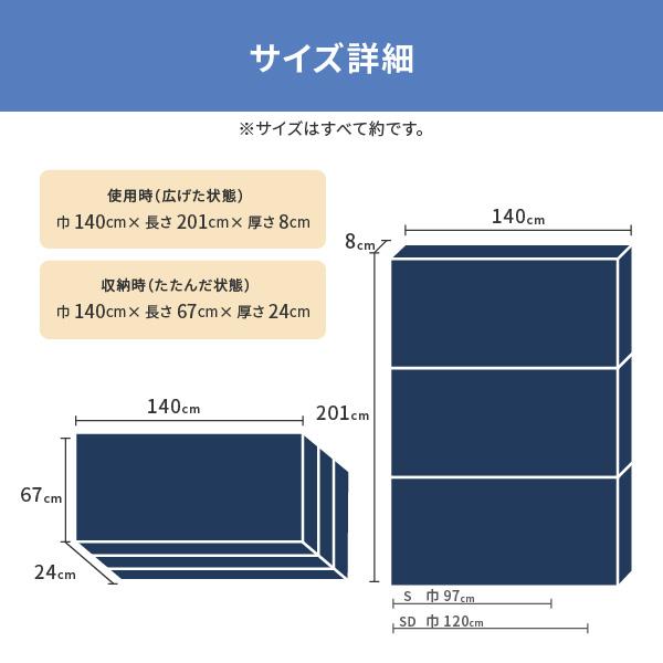 点で支えるウレタンマットレス 約140×201×8cm ダブル D 3つ折り 硬め 体圧分散 ウレタン
