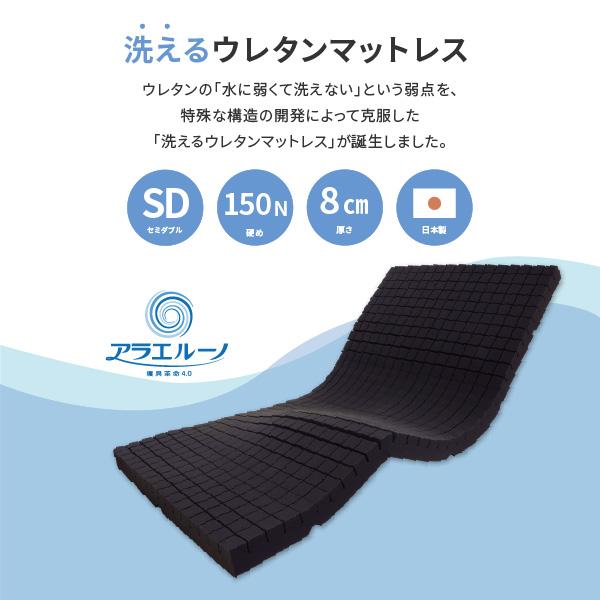 洗えるウレタンマットレス アラエルーノ 約120×195×8cm セミダブル SD 3つ折り 硬め 150N 体圧分散 ウレタン 専用ネット付き