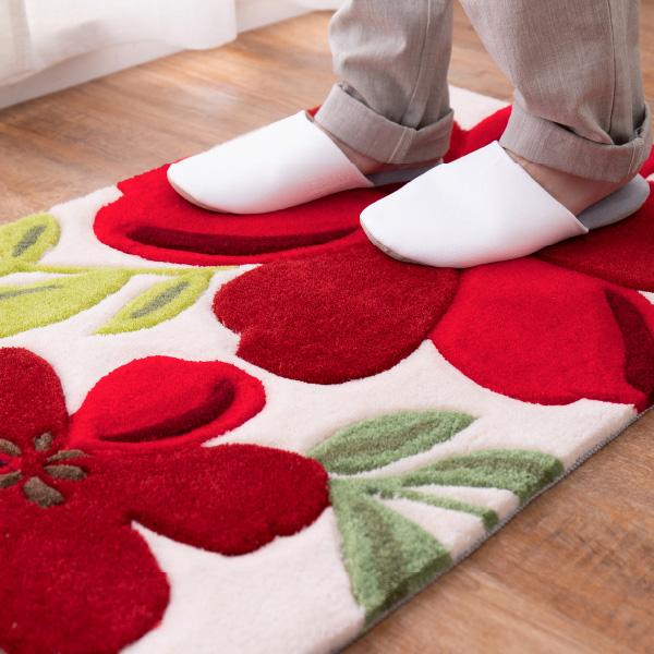 洗える玄関マット アベル 約50×80cm マット 花柄 アクセントマット 室内 屋内 赤い花 厚手 エントランスマット