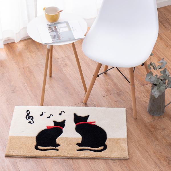 洗える玄関マット キャット 約50×80cm マット 猫柄 ねこ 黒猫 くろねこ 猫  アクセントマット 室内 屋内  厚手 エントランスマット 敬老の日