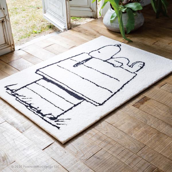 スヌーピー レストエリアマット 玄関マット約70×100cm スヌーピーとおうち スヌーピーハウス モノトーン 滑り止め付きマット ミニラグ ミニマット 小さめ