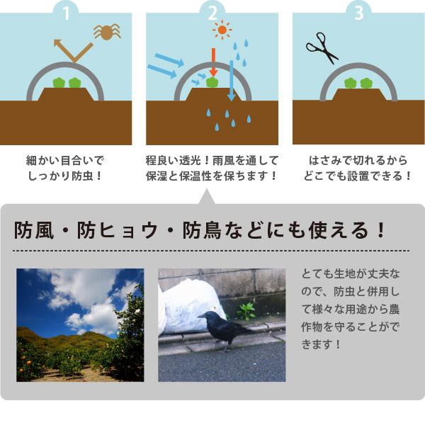 日本製 国産 防虫ネット サンサンネット 白生地 からみ織 N3800 【2×4mm】 約幅1×長さ100m 園芸 畑 農業 防虫シート
