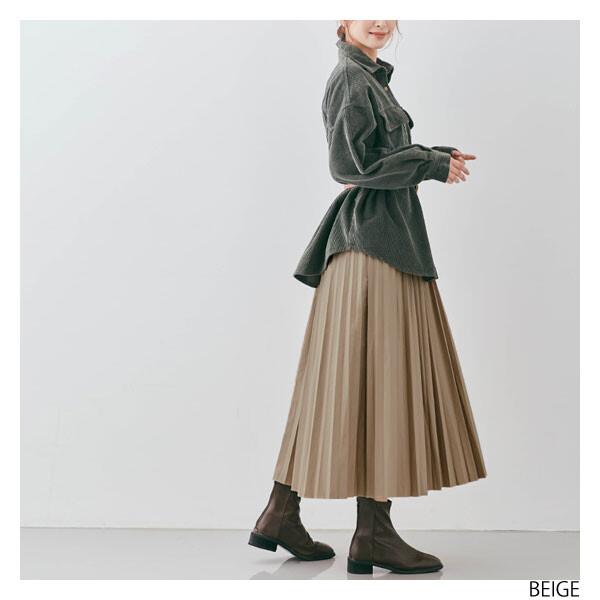 エコレザーロングプリーツスカート 全6色