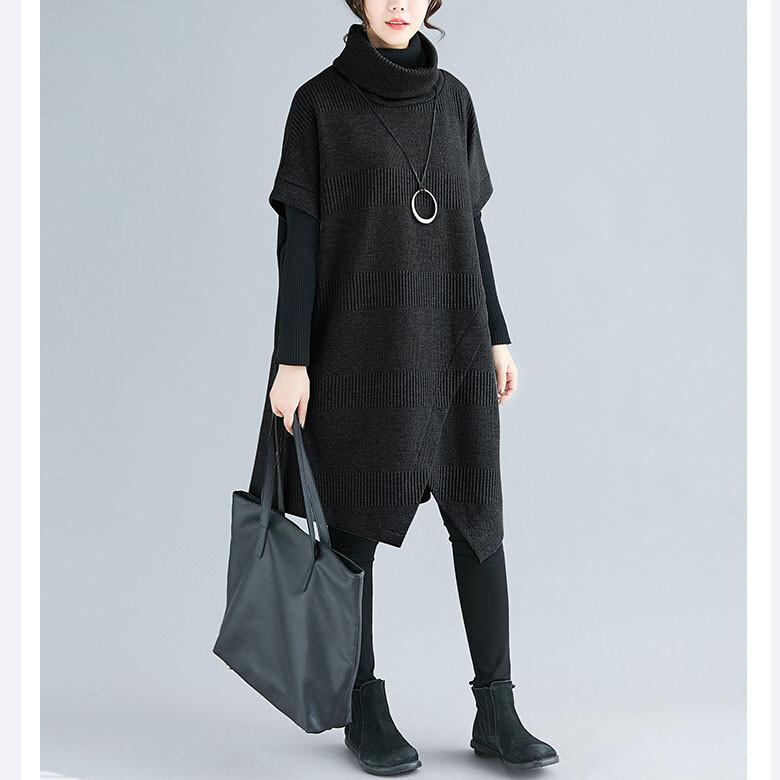オフタートルアシメデザイン半袖ニットワンピ