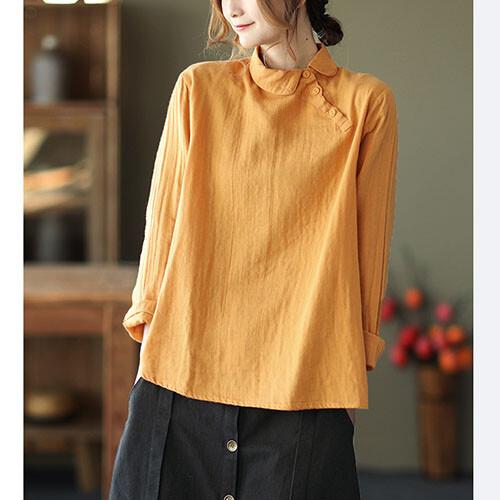 ダブルガーゼ丸襟コットンシャツ