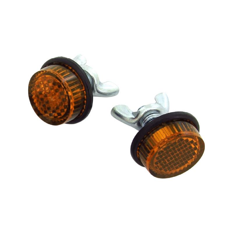 ナンバープレートミニリフレクター <br>2個セット・オレンジ 汎用