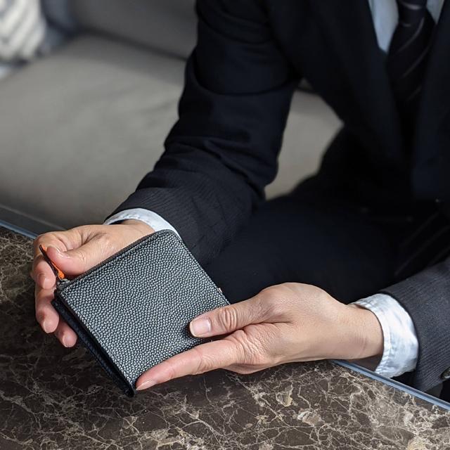 【レザージー/leather-g】バスケ革のコンパクト財布 メンズ レディース  Black Edition