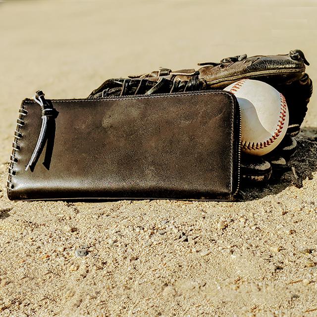 【野球ファンに作りました】ボール革 グラブ革の長財布 本革 グローブ レザー ベースボール 硬球 革 レザー 財布 本革 野球グッズ