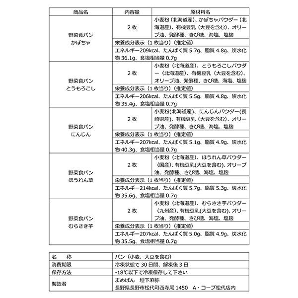 野菜食パン(ネコ)5種セット[冷凍] 送料込(沖縄別途240円)