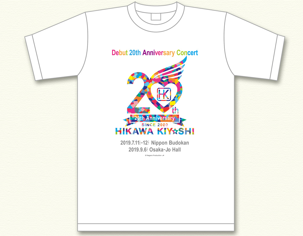 氷川きよし・20thロゴ Tシャツ(レインボー)ホワイト
