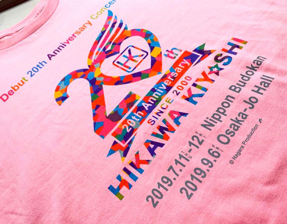 氷川きよし・20thロゴ Tシャツ(レインボー)ピンク