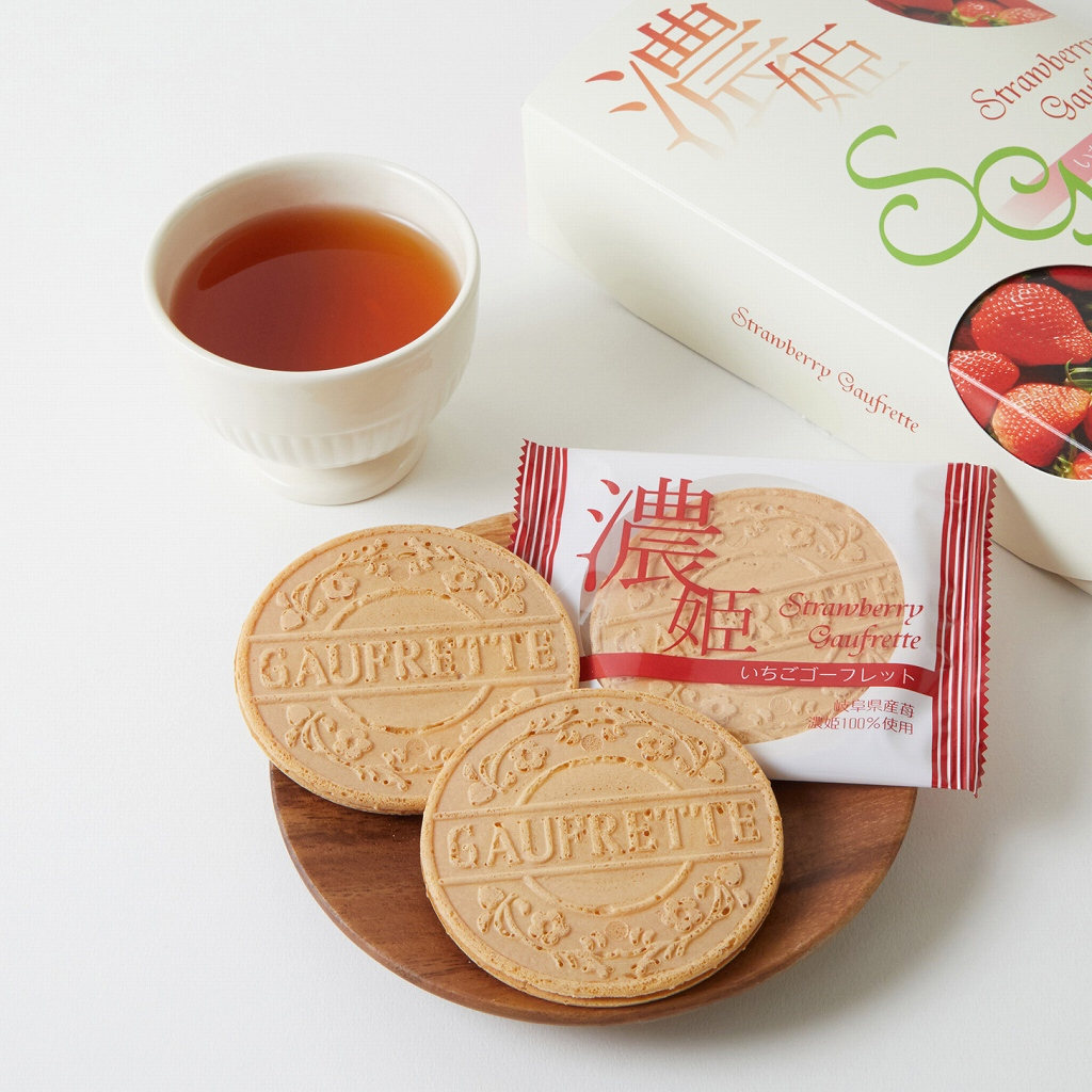【濃姫いちごゴーフレット18枚入り】岐阜県産の濃姫いちごを100%使った、軽く香ばしいゴーフレット