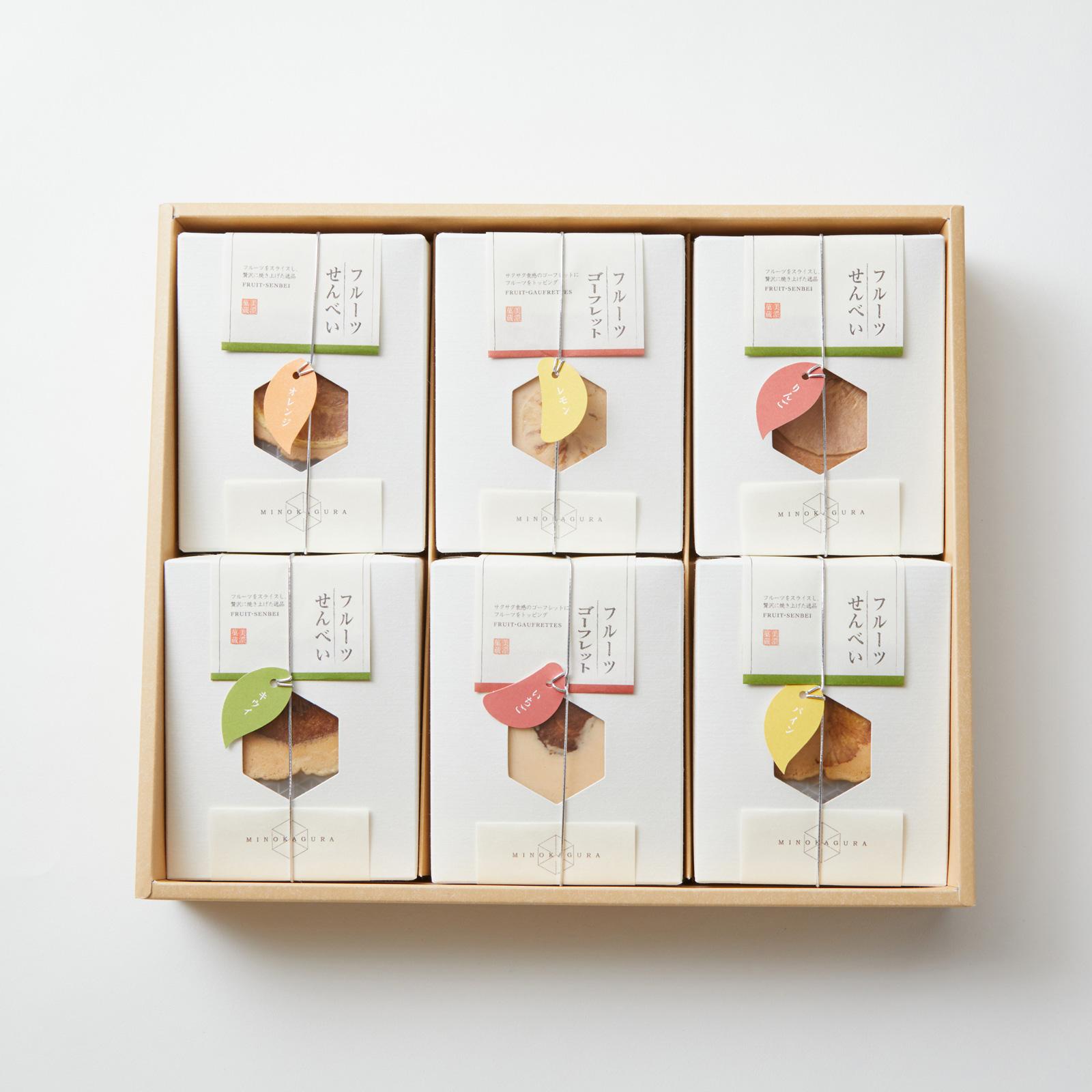 【美濃菓蔵6種入り:34枚】スライスフルーツを載せたはさみ焼きせんべい、フルーツゴーフレット、詰め合わせ