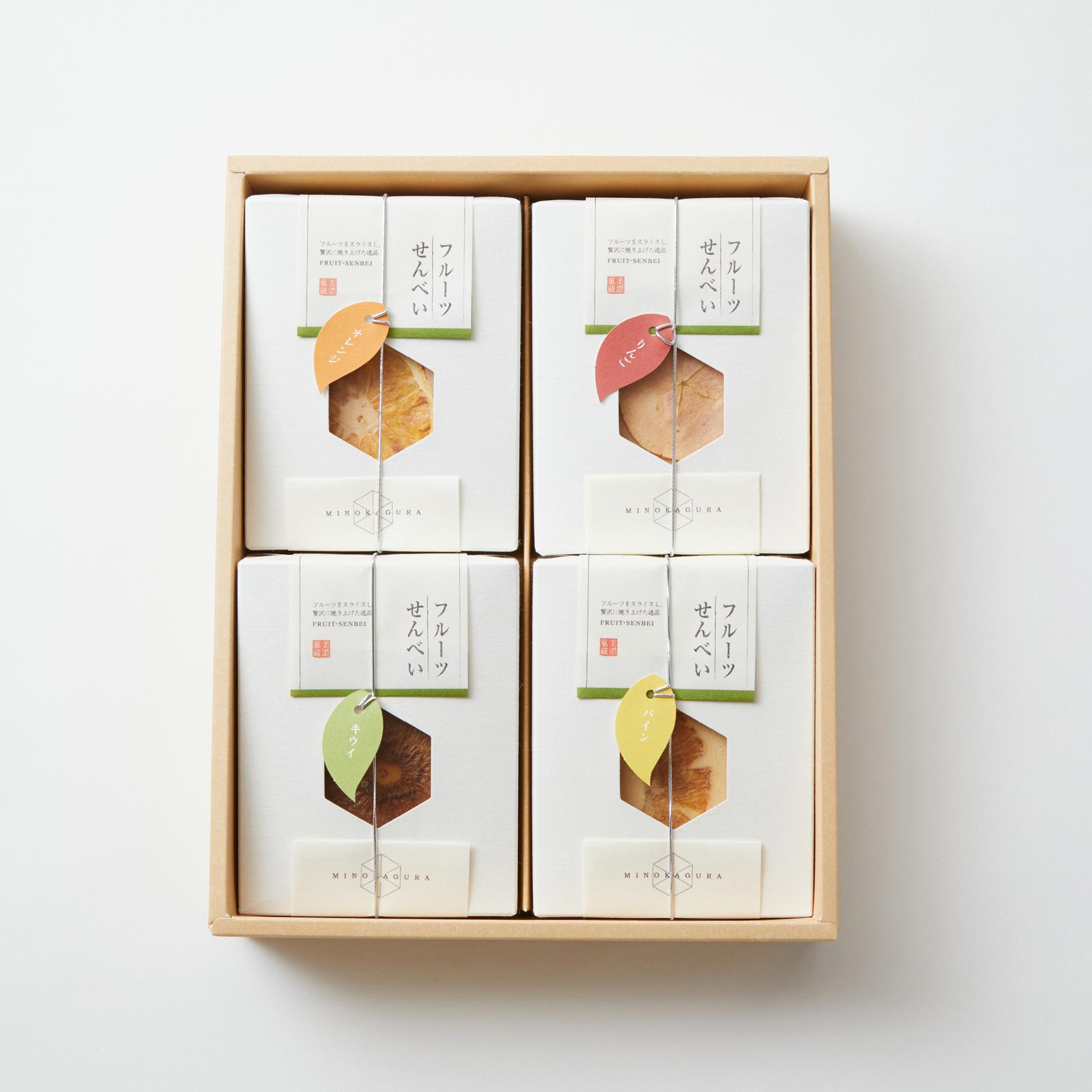 【美濃菓蔵4種入り:24枚】スライスフルーツを載せたはさみ焼きせんべい詰め合わせ