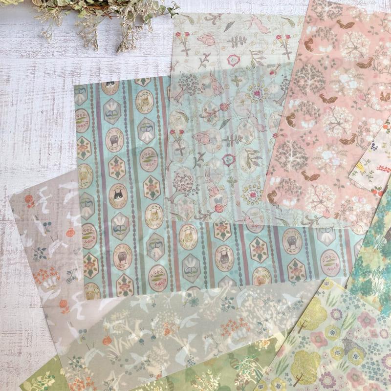 【イベント限定販売品】 模様の雑貨merinomi 専用Box入り透ける模様紙10枚セット〜生きもの編〜