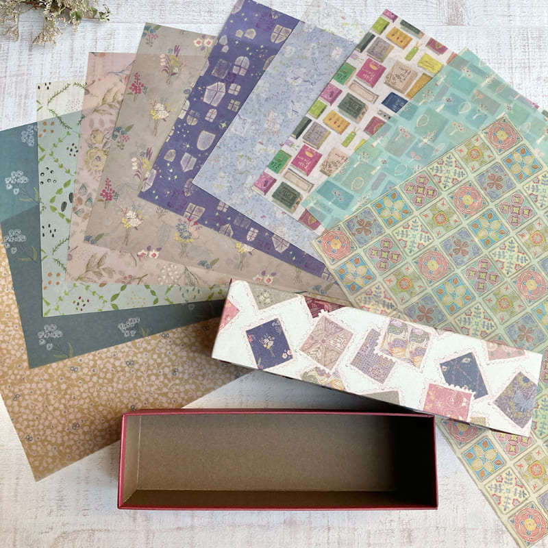 【イベント限定販売品】 模様の雑貨merinomi 専用Box入り透ける模様紙10枚セット〜植物や図形編〜