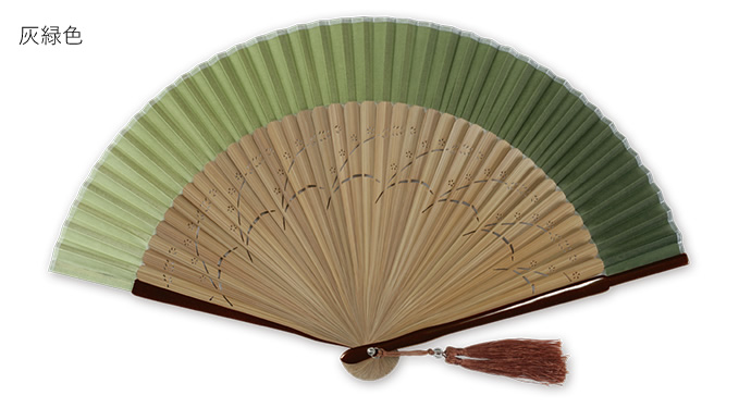 絹製 グラデーション 扇子 シルク さし袋付き シンプル
