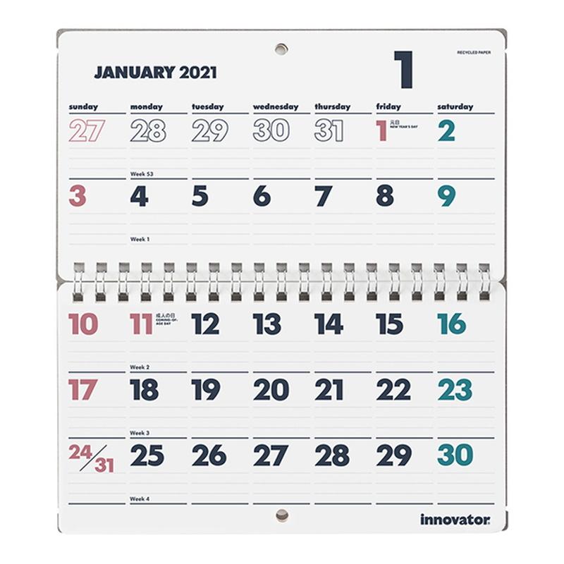 イノベーター 2021年カレンダー 卓上&携帯カレンダー W17×H19cm innovator/R3/令和3年/デスクカレンダー/シンプル/おしゃれ/見やすい